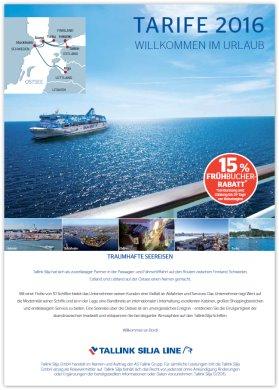 Reisekatalog: Tallink Silja. EntdeckenSie die schönsten Ostseerouten nach Finnland, Schweden und ins Baltikum